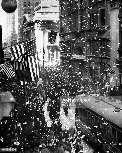 Elevated view of the World War I Armistice Day celebration at the Broad and Chestnut streets, Philadelphia, Pennsylvania, November 11, 1918.