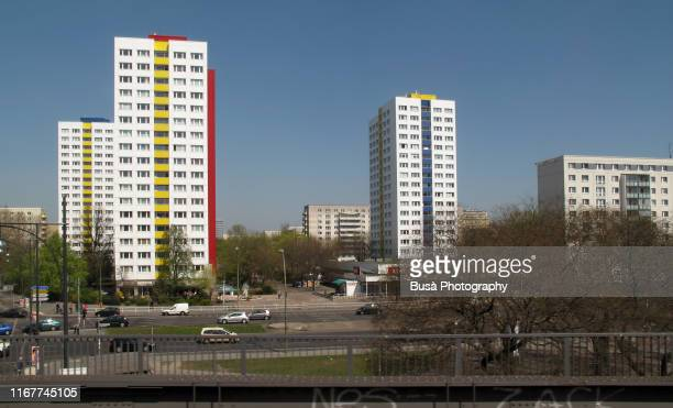elevated view of three communist-era residential skyscrapers in prefabricated concrete (plattenbauten) close to jannowitzbruecke, in east berlin. - east germany stock pictures, royalty-free photos & images