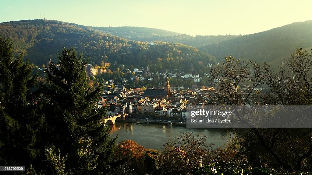 Elevated View Of Town : Foto stock
