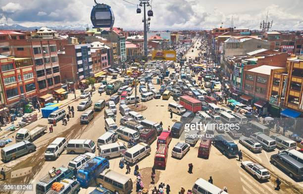 elevated view of traffic in city, el alto, la paz, bolivia, south america - chaos stock pictures, royalty-free photos & images