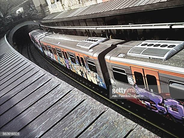 elevated view of train - train graffiti stock photos and pictures