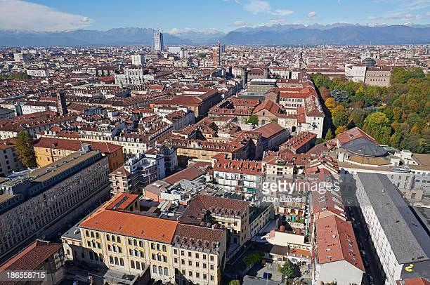 Elevated view of Turin and the Alps