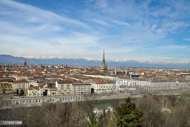 elevated view of turin and the mole antonelliana - puletto diego stock pictures, royalty-free photos & images