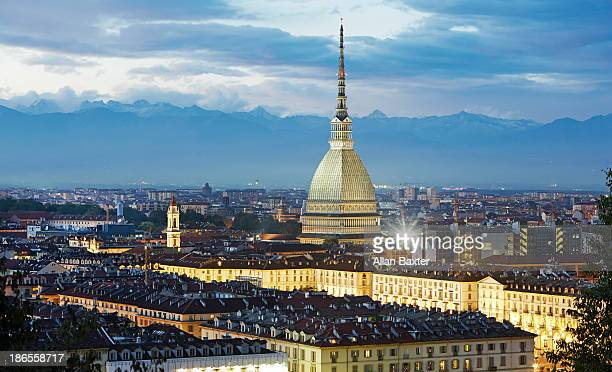 elevated view of turin and the mole antonelliana - トリノ市 ストックフォトと画像