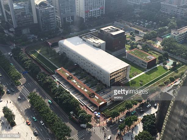 elevated view of u.s. consulate general guangzhou - consulate stock photos and pictures