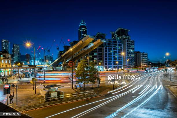 Elevated view of Vauxhall Interchange from south east looking towards Vauxhall Bridge with St. George's Wharf and development of Nine Elms in...