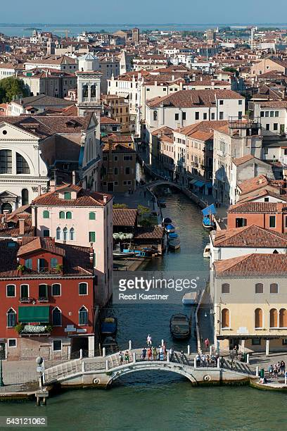 Elevated view of Venice Italy, showing the canals and assorted boats