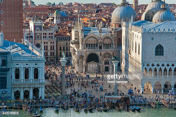 Elevated view of Venice, showing the Doge's Palace and Saint Mark's Basilica