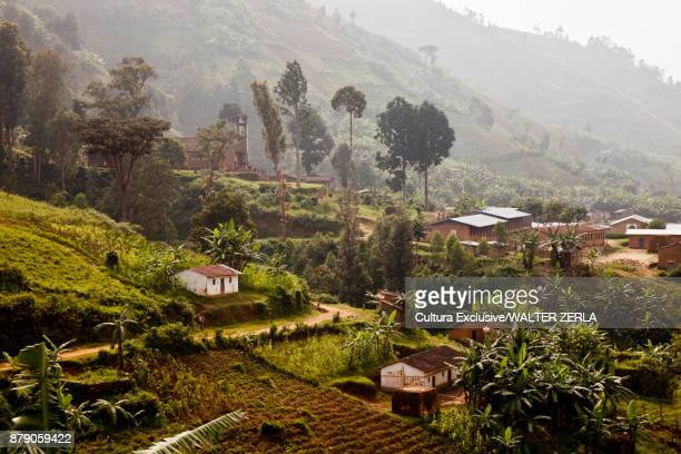 elevated view of village in rain forest, masango, cibitoke, burundi, africa - east africa stock photos and pictures