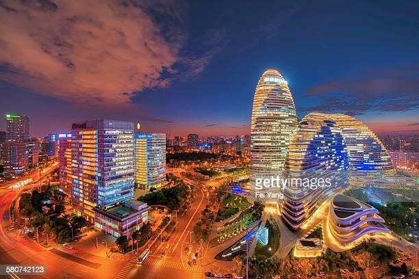 Elevated view of Wangjing SOHO in Beijing