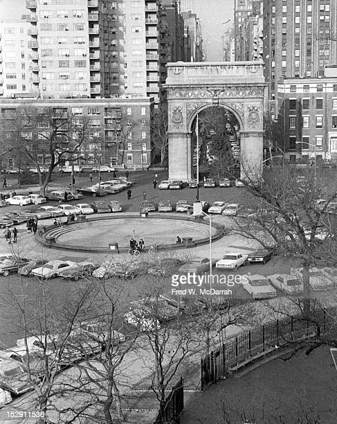 Elevated view of Washington Square Park New York New York January 1966 For a period during it's mid1960's redesign the space was used as a parking lot