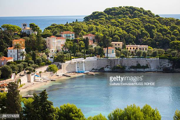 Elevated view of waterfront, St Jean Cap Ferrat, France