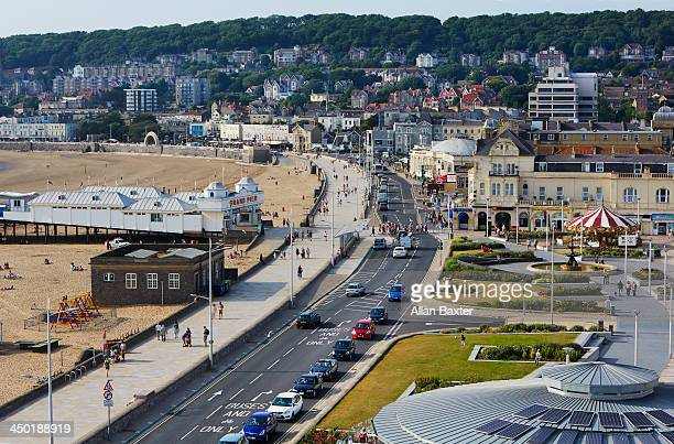 elevated view of weston-super-mare - weston super mare stock pictures, royalty-free photos & images