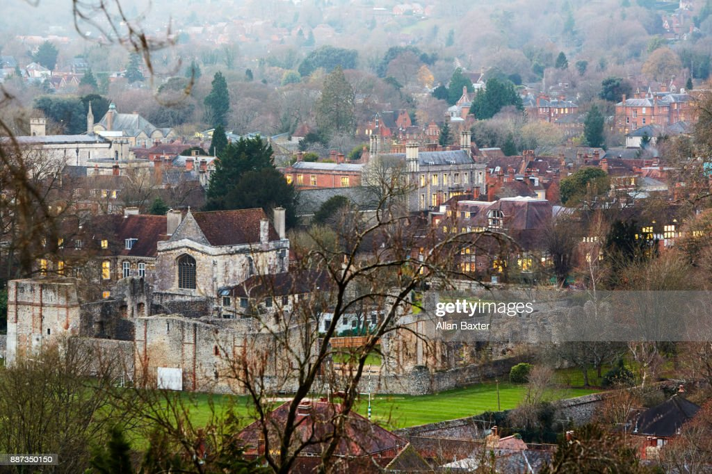 Elevated view of Winchester College : Foto de stock