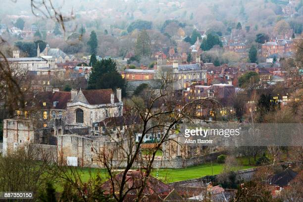 elevated view of winchester college - winchester hampshire stock photos and pictures