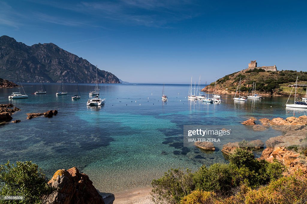Elevated view of yachts anchored in bay, Girolata, Corsica, France : Stock Photo