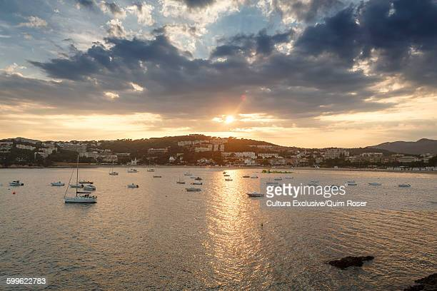 Elevated view of yachts and sea at sunset, SAgaro, Costa Brava, Spain