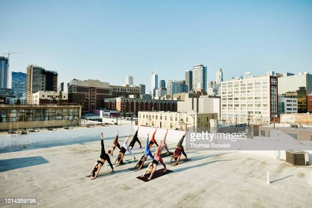 elevated view of yoga class practicing on rooftop overlooking city - active lifestyle stock pictures, royalty-free photos & images