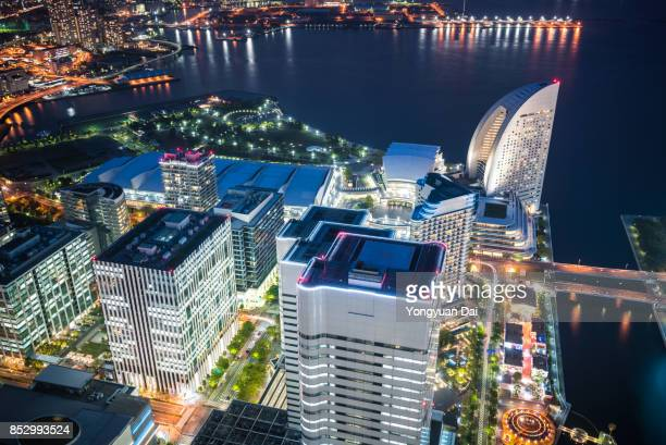 Elevated View of Yokohama Minato Mirai 21 at Night