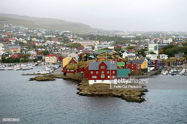 Elevated view on Harbor of Torshavn of Streymoy Island in Faeroe Islands