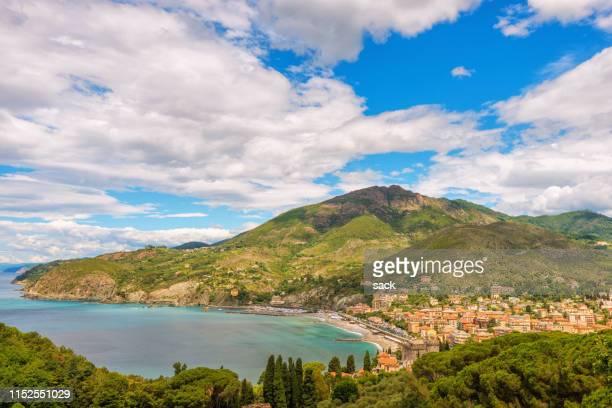 elevated ´view on the town of levanto, liguria - liguria foto e immagini stock