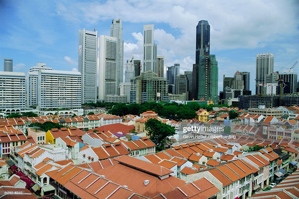 Elevated view over Chinatown, and city skyline, Singapore, Asia : Stock Photo