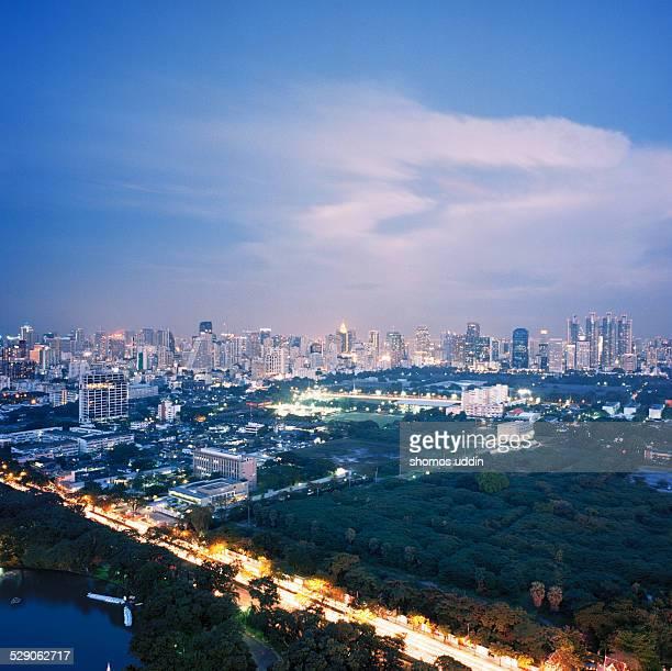 Elevated view over City of Bangkok at dusk