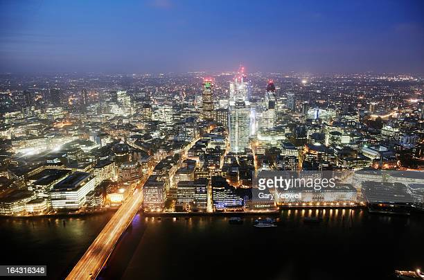 elevated view over city of london at dusk - yeowell stock pictures, royalty-free photos & images
