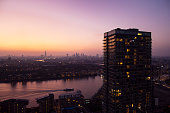 Elevated view over city of London skyline