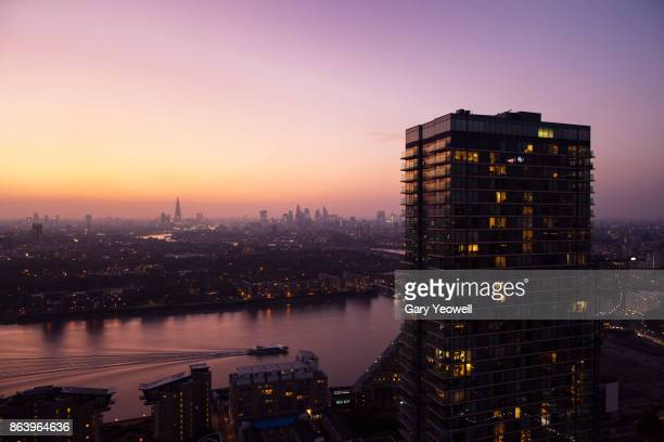 elevated view over city of london skyline - flat stock pictures, royalty-free photos & images