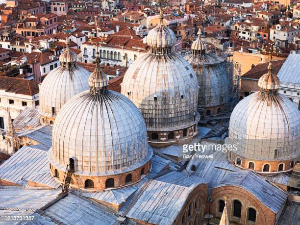 elevated view over doge's palace in venice - cupola foto e immagini stock