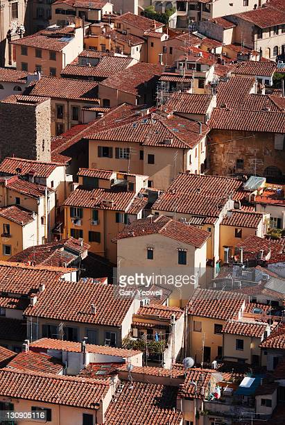 elevated view over florence rooftops - yeowell stock pictures, royalty-free photos & images