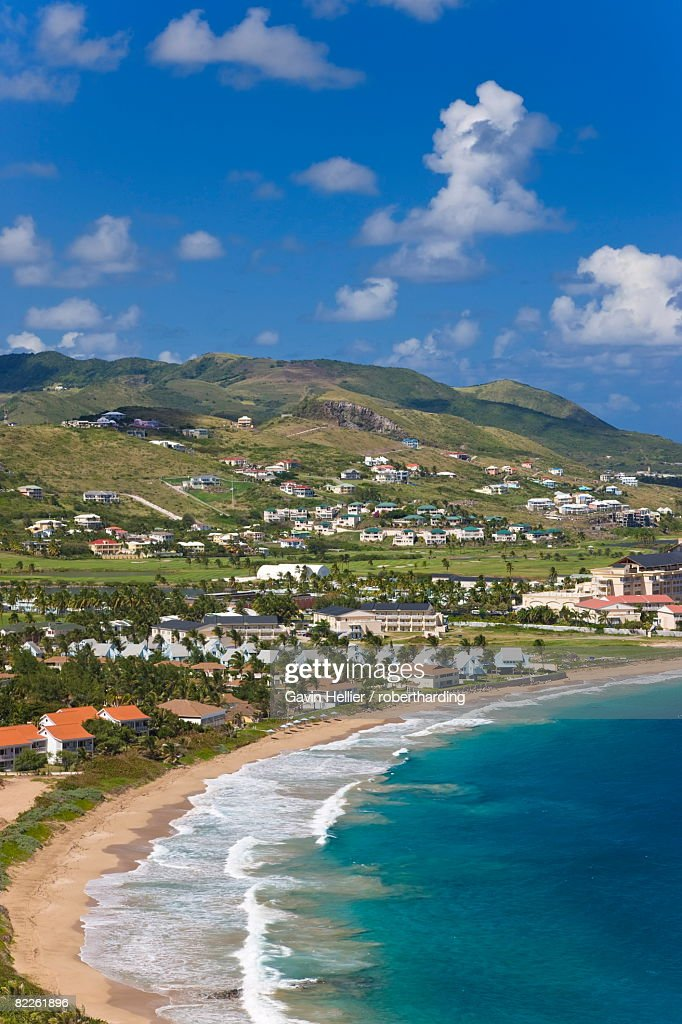 Elevated view over Frigate Bay and Frigate Beach North, St. Kitts, Leeward Islands, West Indies, Caribbean, Central America : Stock Photo