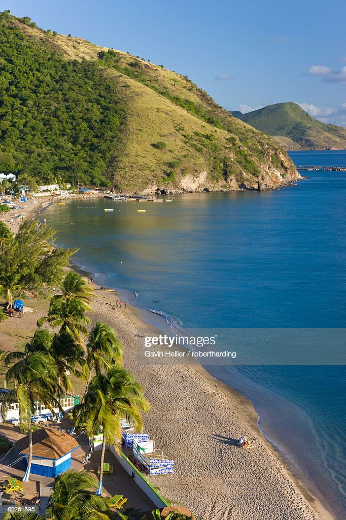 Elevated view over Frigate Bay Beach, Frigate Bay, St. Kitts, Leeward Islands, West Indies, Caribbean, Central America : Stock Photo