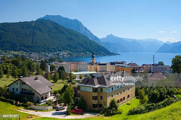 Elevated view over idyllic Gmunden, Austria