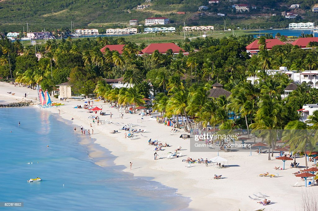 Elevated view over Jolly Harbour and Jolly Beach, Antigua, Leeward Islands, West Indies, Caribbean, Central America : Stock Photo