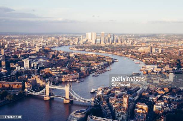 elevated view over london city skyline at sunset - greater london stock pictures, royalty-free photos & images