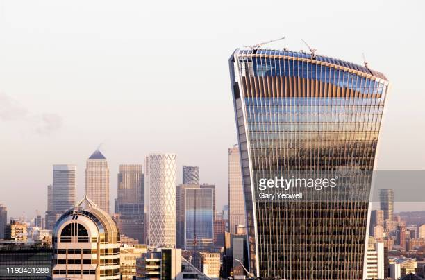 elevated view over london city skyline at sunset - architecture stock pictures, royalty-free photos & images