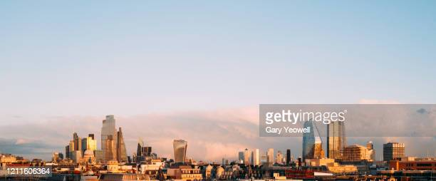elevated view over london city skyline at sunset - london skyline stock pictures, royalty-free photos & images