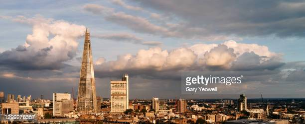 elevated view over london city skyline at sunset - horizon over land stock pictures, royalty-free photos & images