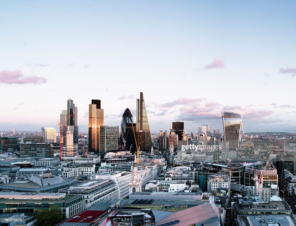 Elevated view over London City skyline at sunset : Stock Photo