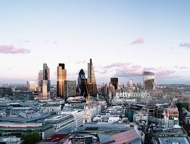 Elevated view over London City skyline at sunset