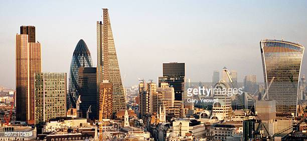 elevated view over london city skyline at sunset - london england stock-fotos und bilder