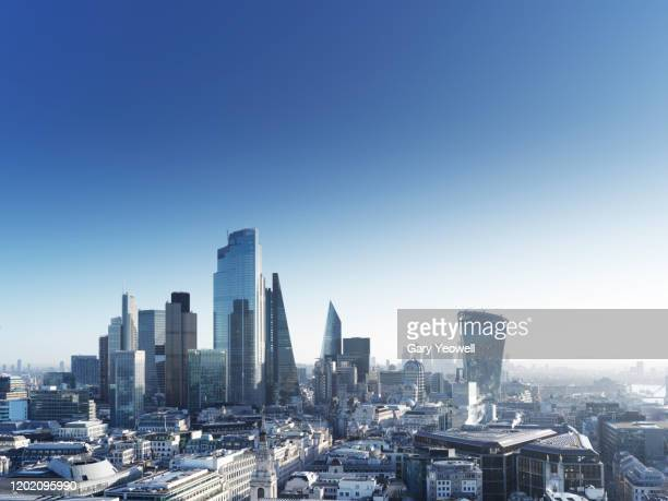 elevated view over london city skyline - london england stock pictures, royalty-free photos & images