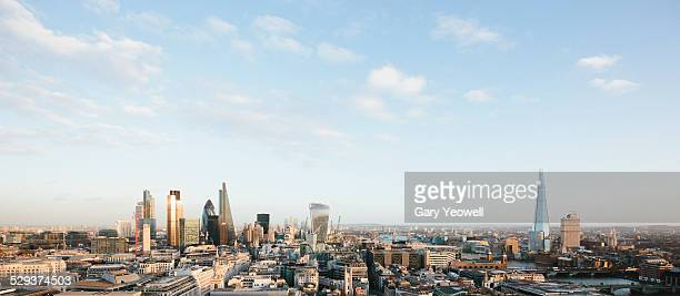 Elevated view over London City skyline