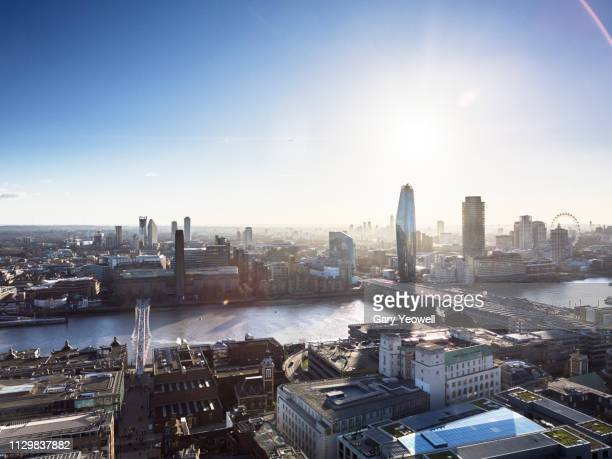 elevated view over london skyline and river thames - greater london stock pictures, royalty-free photos & images
