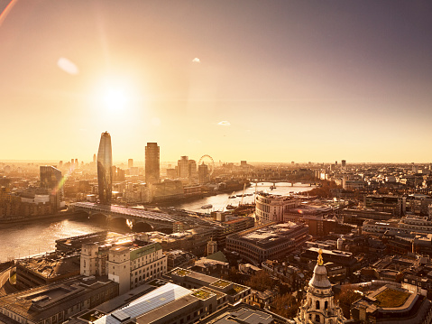 Elevated view over London skyline at sunset - gettyimageskorea