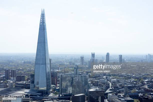 elevated view over london southwark skyline - shard london bridge stock pictures, royalty-free photos & images