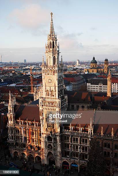 elevated view over new town hall at sunset - marienplatz stock pictures, royalty-free photos & images