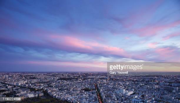 elevated view over paris city skyline - paris france photos et images de collection